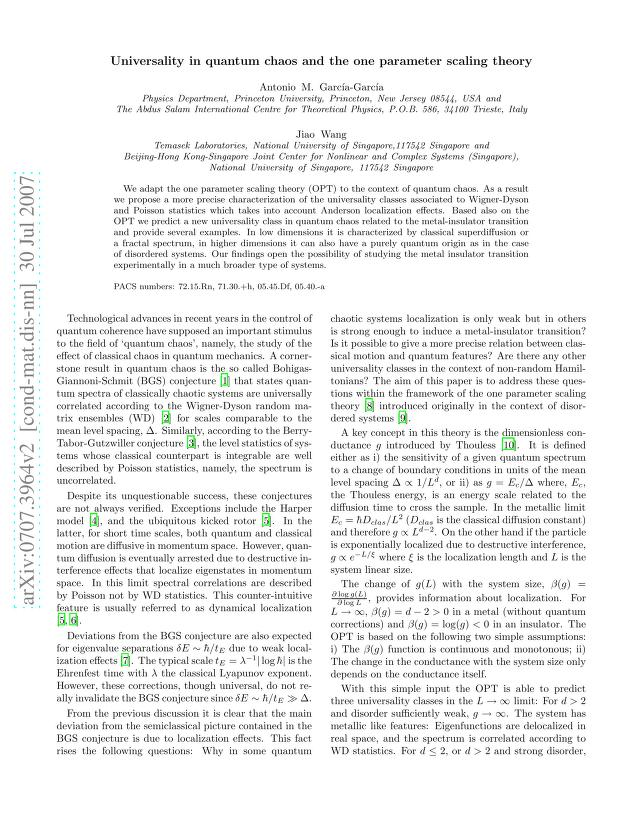 Antonio M. Garcia-Garcia - Universality in quantum chaos and the one parameter scaling theory