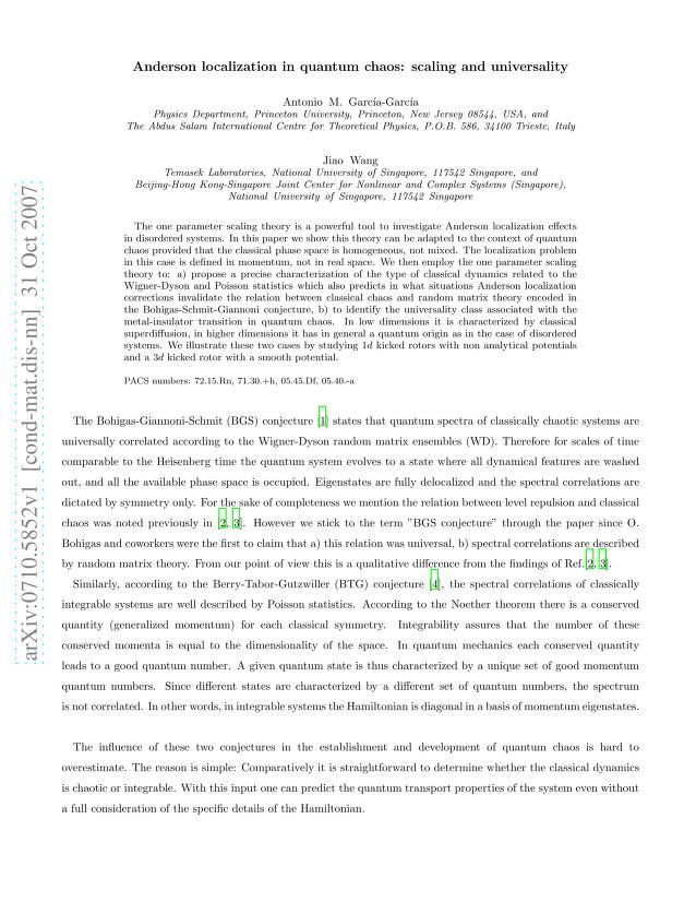 Antonio M. Garcia-Garcia - Anderson localization in quantum chaos: scaling and universality
