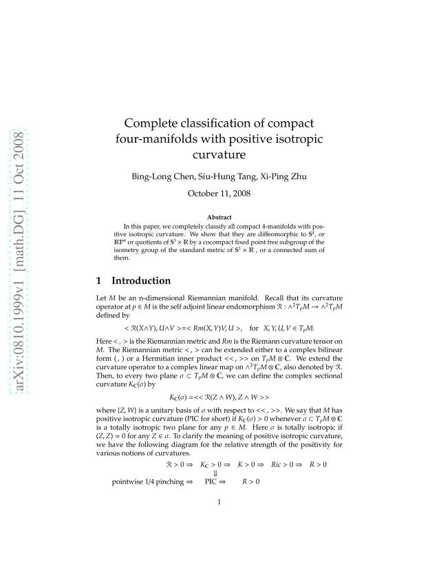 Bing-Long Chen - Complete classification of compact four-manifolds with positive isotropic curvature