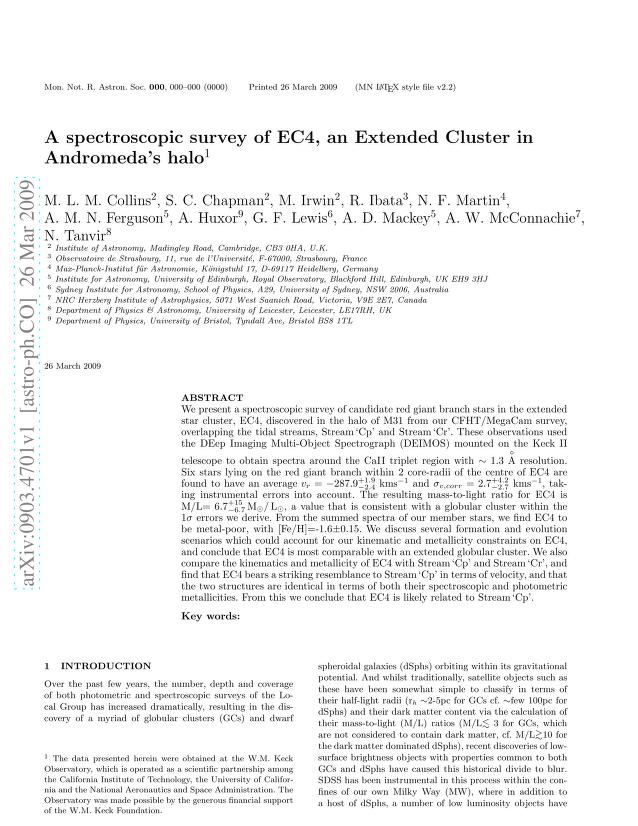 M. L. M. Collins - A spectroscopic survey of EC4, an Extended Cluster in Andromeda's halo
