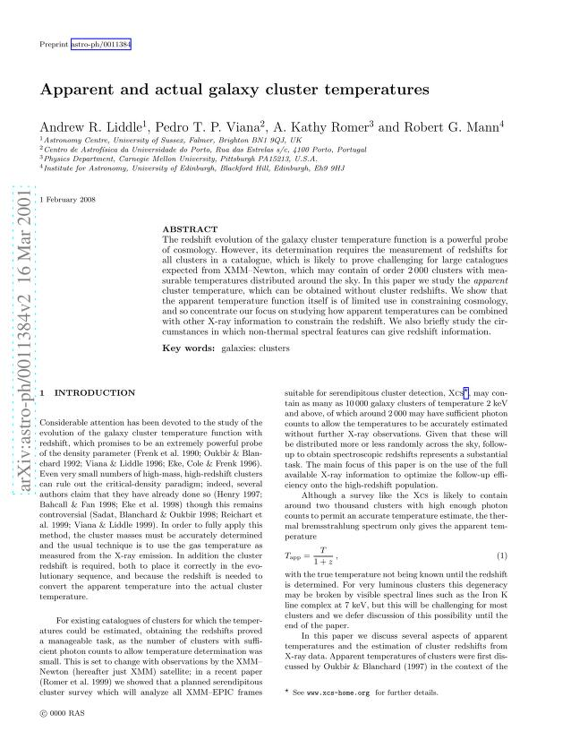 Andrew R Liddle - Apparent and actual galaxy cluster temperatures
