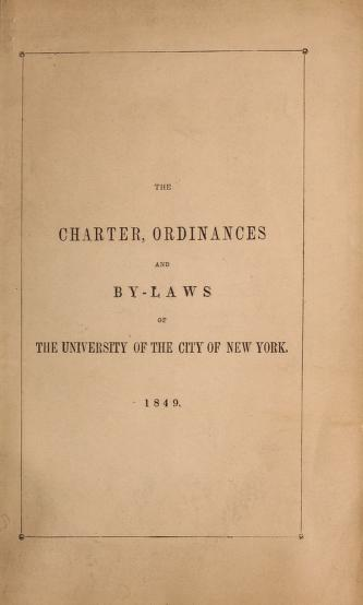 The act of incorporation by University of the City of New York